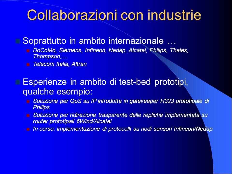 Collaborazioni con industrie Soprattutto in ambito internazionale … DoCoMo, Siemens, Infineon, Nedap, Alcatel, Philips, Thales, Thompson,… Telecom Ita