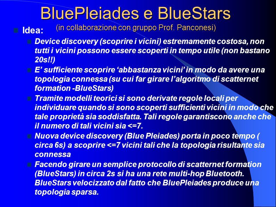 BluePleiades e BlueStars (in collaborazione con gruppo Prof. Panconesi) Idea: Device discovery (scoprire i vicini) estremamente costosa, non tutti i v