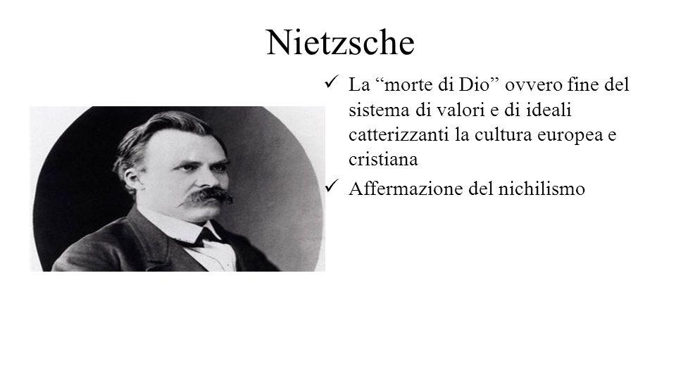 """Nietzsche La """"morte di Dio"""" ovvero fine del sistema di valori e di ideali catterizzanti la cultura europea e cristiana Affermazione del nichilismo"""