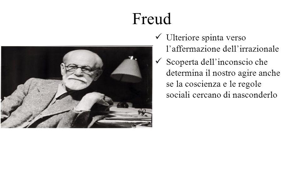 Freud Ulteriore spinta verso l'affermazione dell'irrazionale Scoperta dell'inconscio che determina il nostro agire anche se la coscienza e le regole s