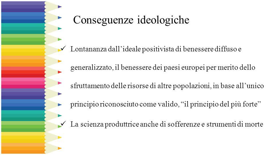 Conseguenze ideologiche Lontananza dall'ideale positivista di benessere diffuso e generalizzato, il benessere dei paesi europei per merito dello sfrut