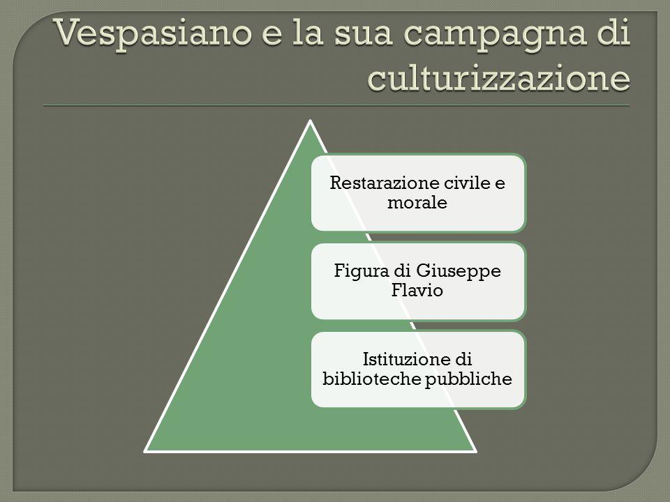 Restarazione civile e morale Figura di Giuseppe Flavio Istituzione di biblioteche pubbliche