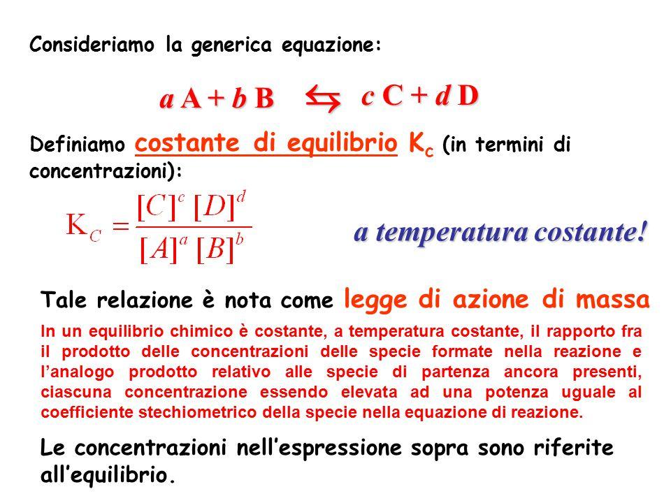 Consideriamo la generica equazione: Definiamo costante di equilibrio K c (in termini di concentrazioni): a A + b B c C + d D a temperatura costante!