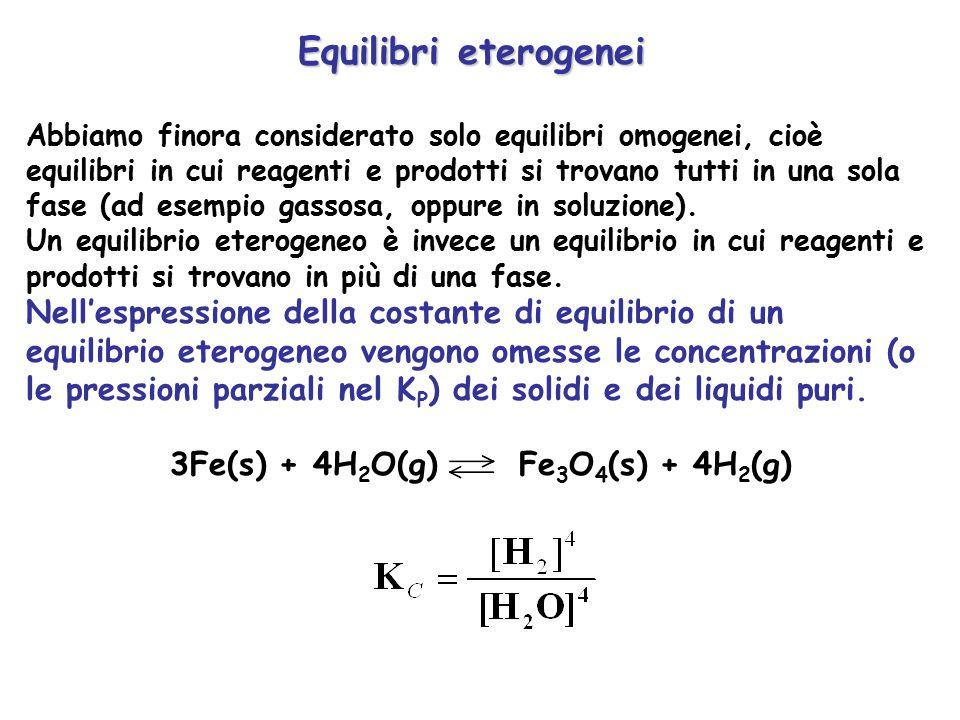 Esempio CaCO 3 (s) CaO(s) + CO 2 (g) K C =[CO 2 ] K P =P CO2 Si noti che in questo caso particolarmente semplice se ad un recipiente contenente CaCO 3,CaO e CO 2 si aggiunge una qualsiasi quantità di uno o più di questi composti, la pressione parziale di CO 2 rimane costante