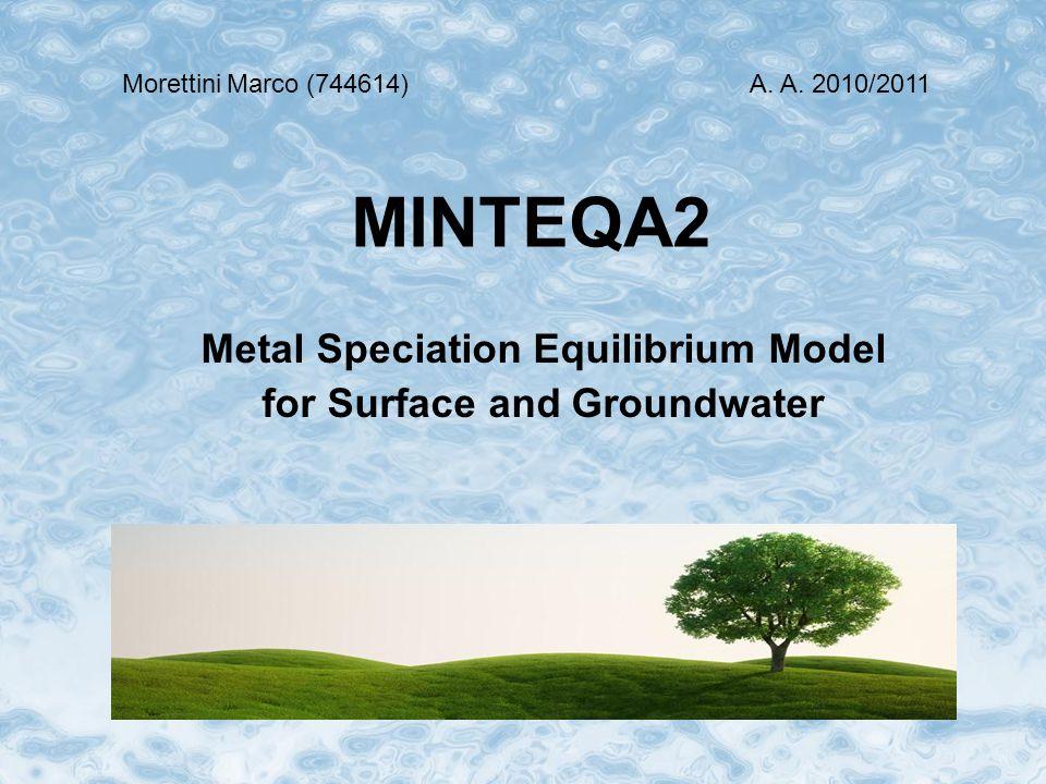 MINTEQA2 è un modello geochimico per il calcolo della composizione di soluzioni acquose all'equilibrio, nato dalla combinazione delle strutture matematiche fondamentali di MINEQL con il database termodinamico di WATEQ3.