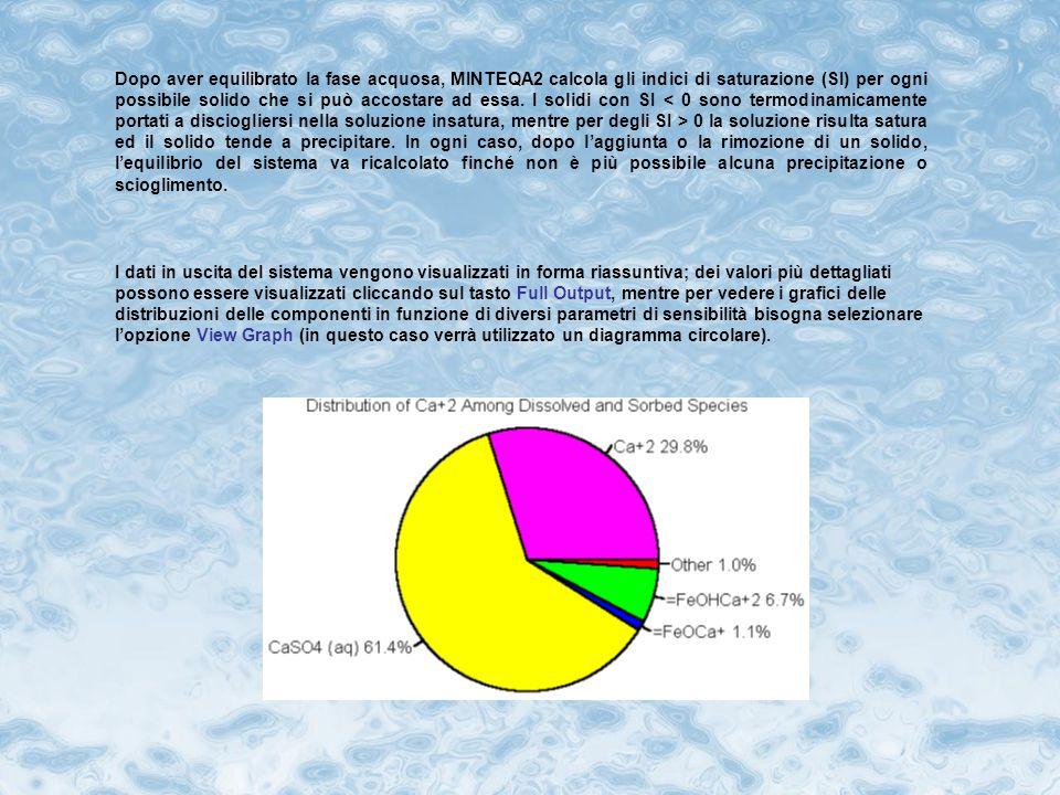 In MINTEQA2 è possibile includere nei calcoli anche reazioni di assorbimento, grazie all'opzione Sorption.