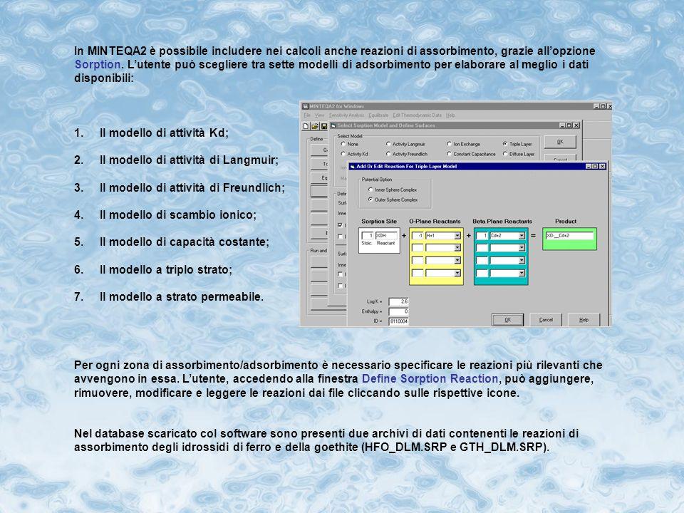 Il tasto Edit Thermodynamic Data, presente nella barra del menu, permette di calcolare le variazioni dei valori ottenuti al variare di parametri come l'entalpia e la costante di equilibrio (espressa nella forma logaritmica log K).