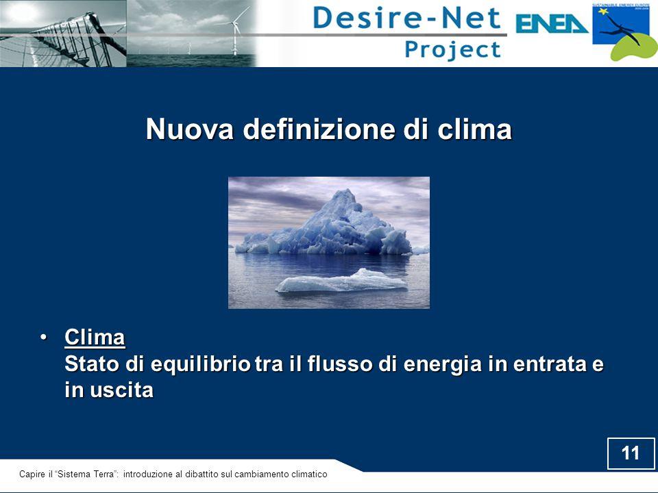 11 Nuova definizione di clima Clima Stato di equilibrio tra il flusso di energia in entrata e in uscitaClima Stato di equilibrio tra il flusso di ener