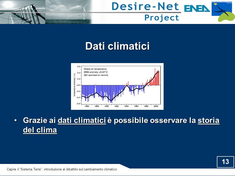 13 Dati climatici Grazie ai dati climatici è possibile osservare la storia del climaGrazie ai dati climatici è possibile osservare la storia del clima