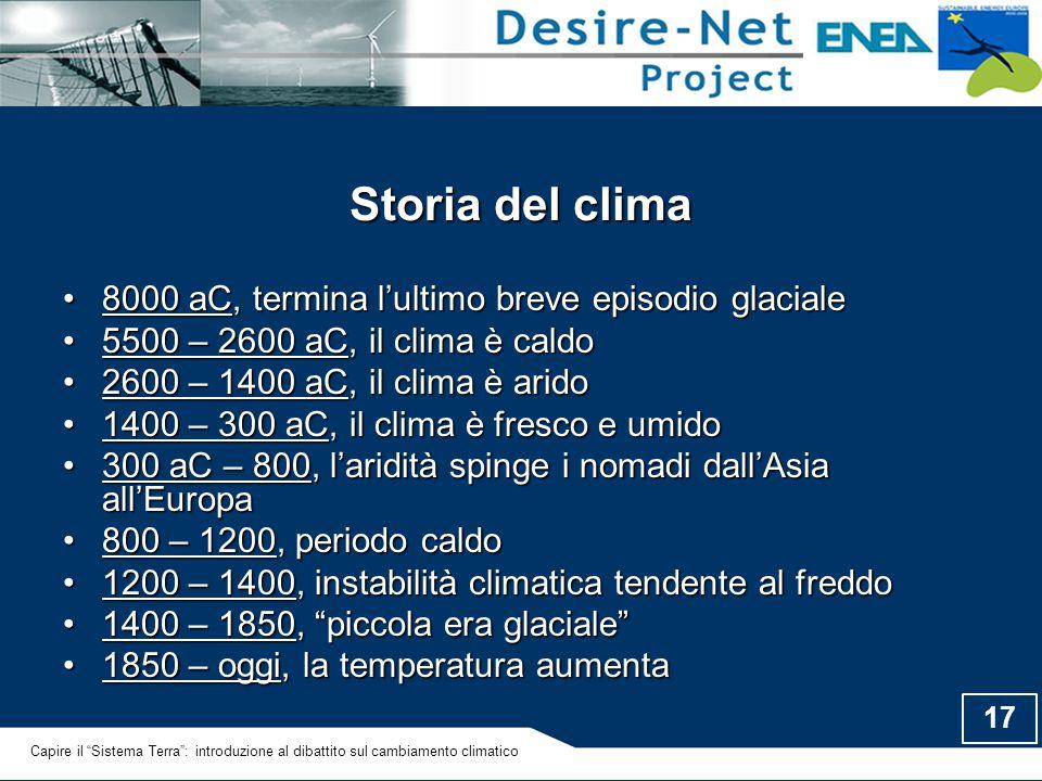 17 Storia del clima 8000 aC, termina l'ultimo breve episodio glaciale8000 aC, termina l'ultimo breve episodio glaciale 5500 – 2600 aC, il clima è cald