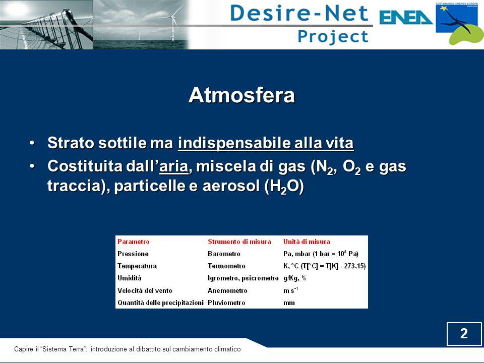 2 Atmosfera Strato sottile ma indispensabile alla vitaStrato sottile ma indispensabile alla vita Costituita dall'aria, miscela di gas (N 2, O 2 e gas