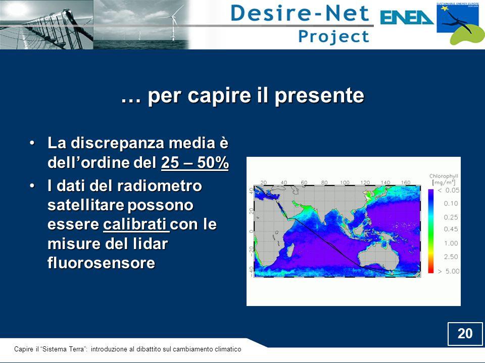 20 … per capire il presente La discrepanza media è dell'ordine del 25 – 50%La discrepanza media è dell'ordine del 25 – 50% I dati del radiometro satel