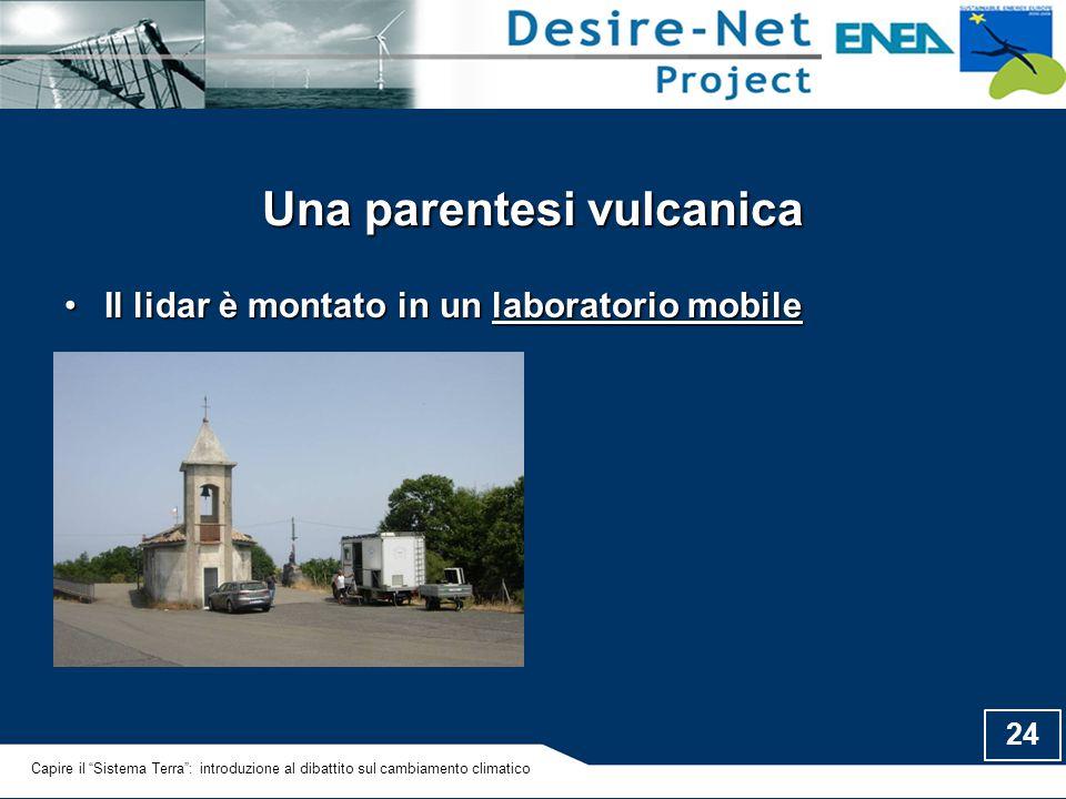 "24 Una parentesi vulcanica Il lidar è montato in un laboratorio mobileIl lidar è montato in un laboratorio mobile Capire il ""Sistema Terra"": introduzi"