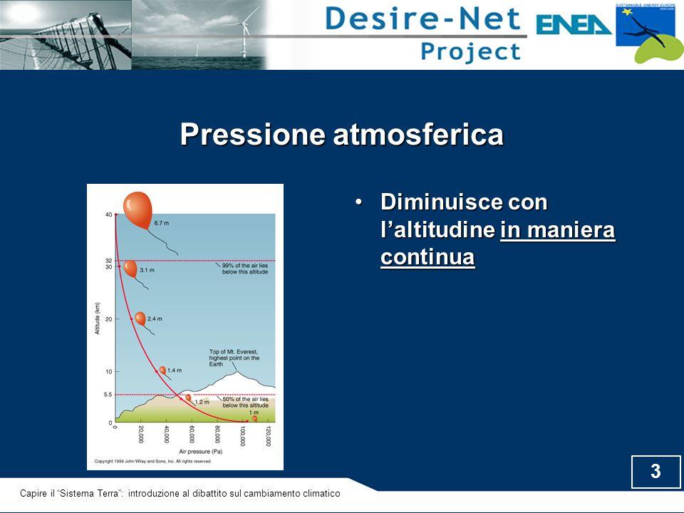 """3 Pressione atmosferica Diminuisce con l'altitudine in maniera continuaDiminuisce con l'altitudine in maniera continua Capire il """"Sistema Terra"""": intr"""