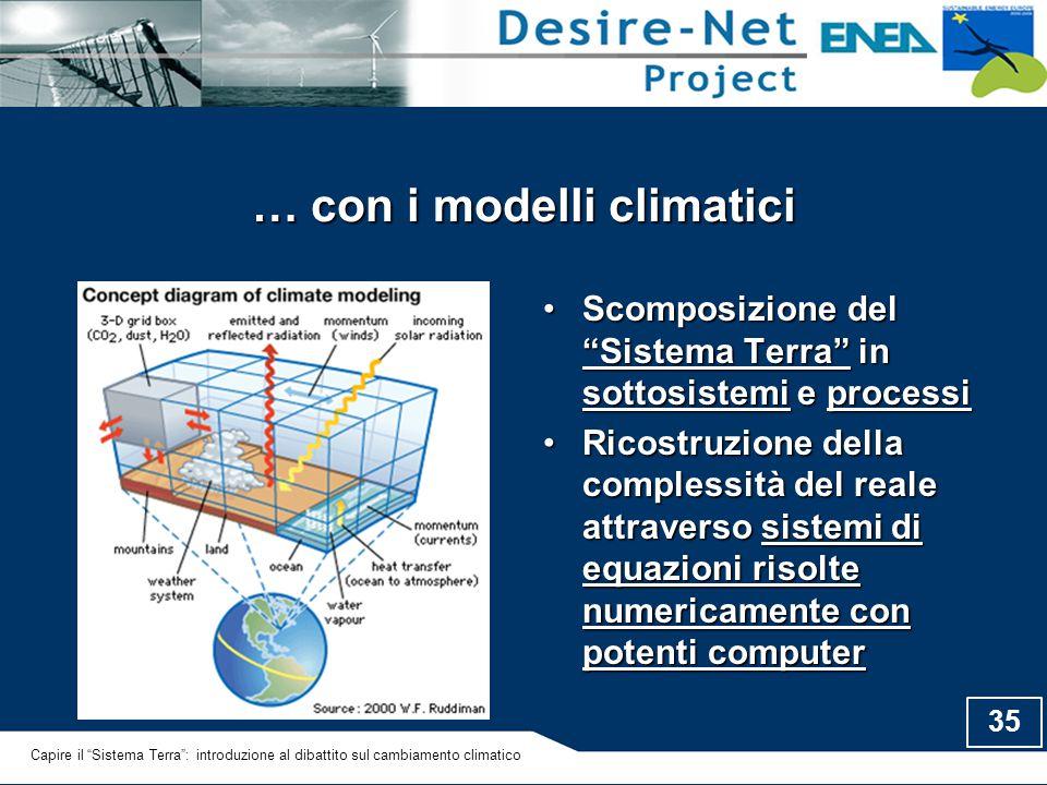 """35 … con i modelli climatici Scomposizione del """"Sistema Terra"""" in sottosistemi e processiScomposizione del """"Sistema Terra"""" in sottosistemi e processi"""