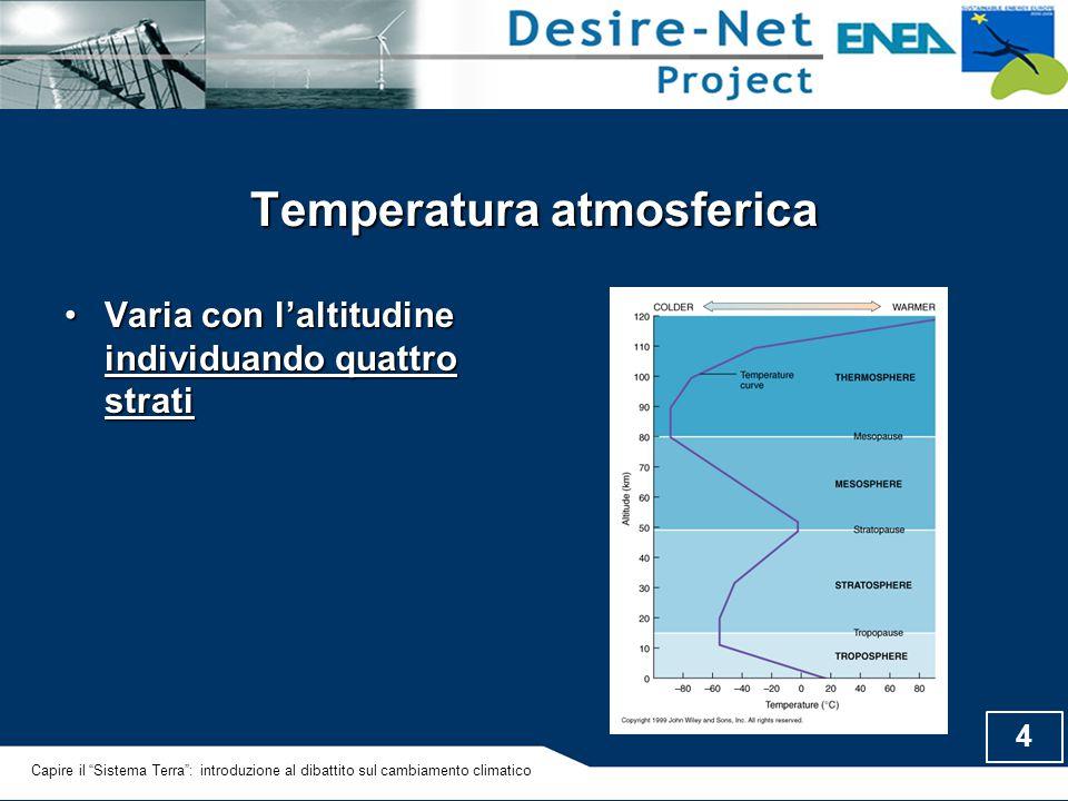 """4 Temperatura atmosferica Varia con l'altitudine individuando quattro stratiVaria con l'altitudine individuando quattro strati Capire il """"Sistema Terr"""