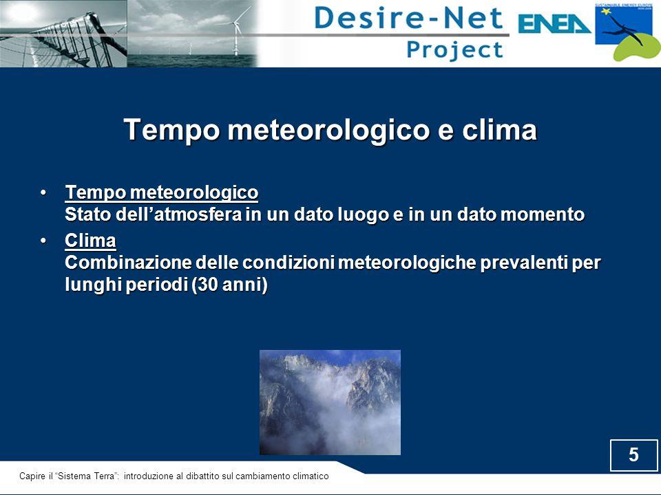 5 Tempo meteorologico e clima Tempo meteorologico Stato dell'atmosfera in un dato luogo e in un dato momentoTempo meteorologico Stato dell'atmosfera i
