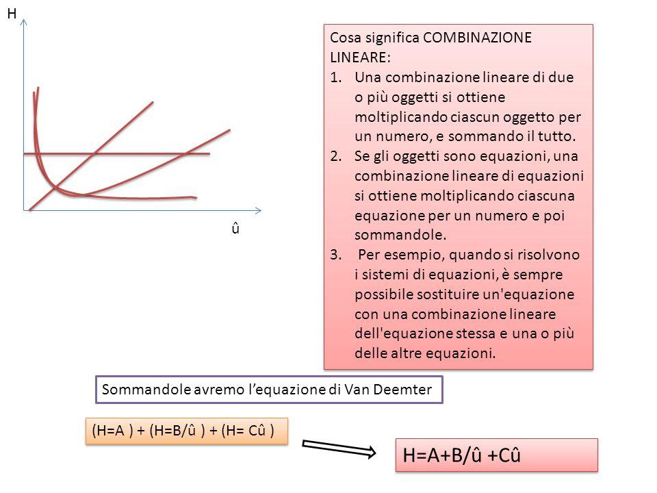 H û Cosa significa COMBINAZIONE LINEARE: 1.Una combinazione lineare di due o più oggetti si ottiene moltiplicando ciascun oggetto per un numero, e som