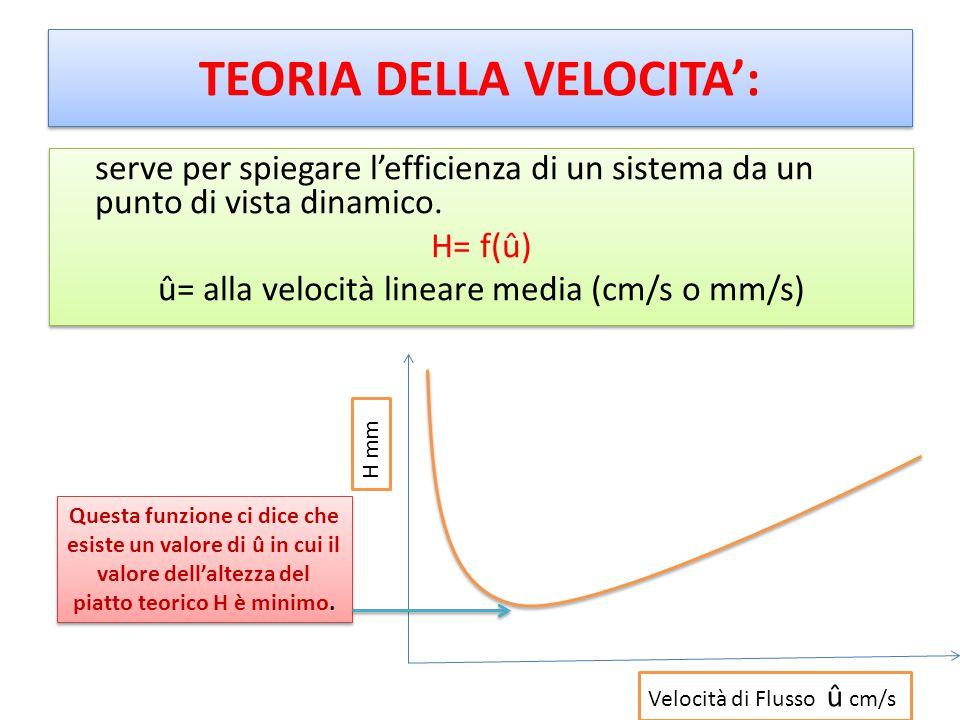 TEORIA DELLA VELOCITA': serve per spiegare l'efficienza di un sistema da un punto di vista dinamico. H= f(û) û= alla velocità lineare media (cm/s o mm