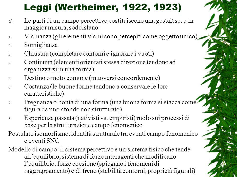 Leggi (Wertheimer, 1922, 1923)  Le parti di un campo percettivo costituiscono una gestalt se, e in maggior misura, soddisfano: 1.