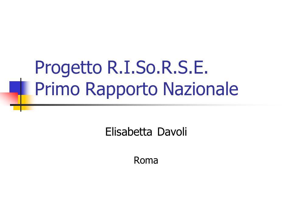 Progetto R.I.So.R.S.E. Primo Rapporto Nazionale Elisabetta Davoli Roma