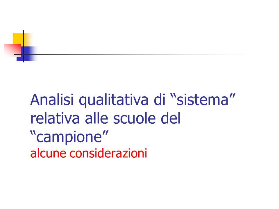"""Analisi qualitativa di """"sistema"""" relativa alle scuole del """"campione"""" alcune considerazioni"""