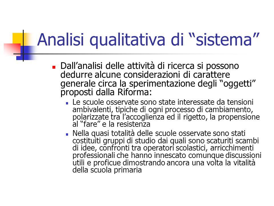 """Analisi qualitativa di """"sistema"""" Dall'analisi delle attività di ricerca si possono dedurre alcune considerazioni di carattere generale circa la sperim"""