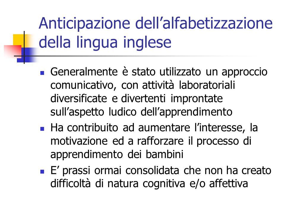Anticipazione dell'alfabetizzazione della lingua inglese Generalmente è stato utilizzato un approccio comunicativo, con attività laboratoriali diversi