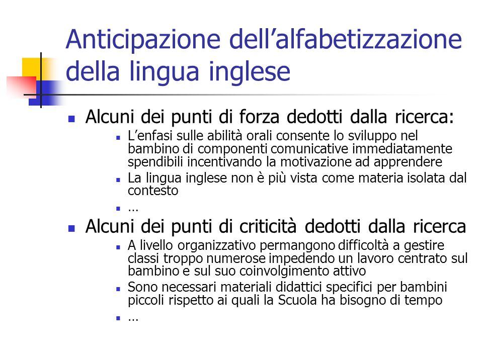 Anticipazione dell'alfabetizzazione della lingua inglese Alcuni dei punti di forza dedotti dalla ricerca: L'enfasi sulle abilità orali consente lo svi