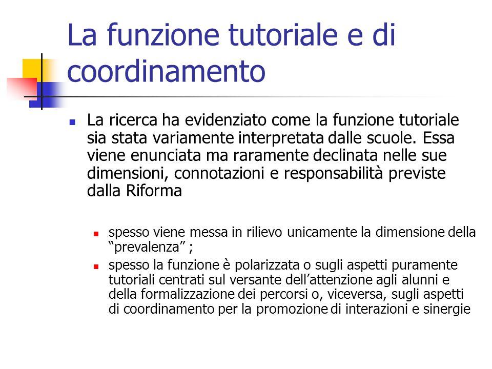 La funzione tutoriale e di coordinamento La ricerca ha evidenziato come la funzione tutoriale sia stata variamente interpretata dalle scuole. Essa vie