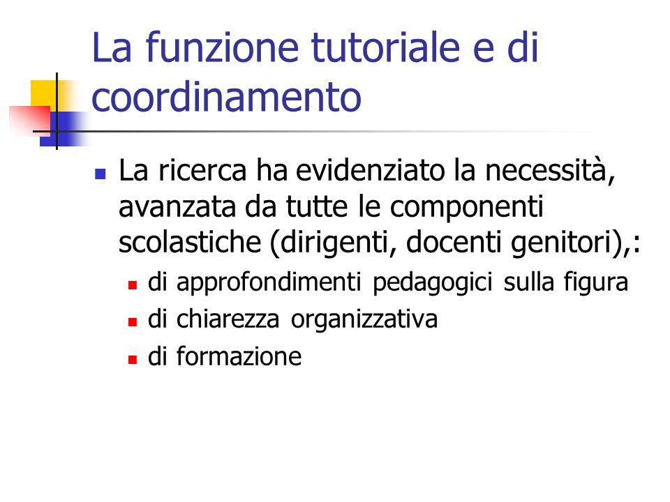 La funzione tutoriale e di coordinamento La ricerca ha evidenziato la necessità, avanzata da tutte le componenti scolastiche (dirigenti, docenti genit