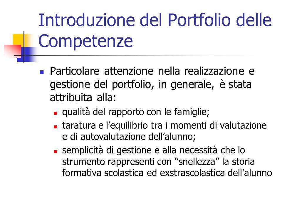 Introduzione del Portfolio delle Competenze Particolare attenzione nella realizzazione e gestione del portfolio, in generale, è stata attribuita alla: