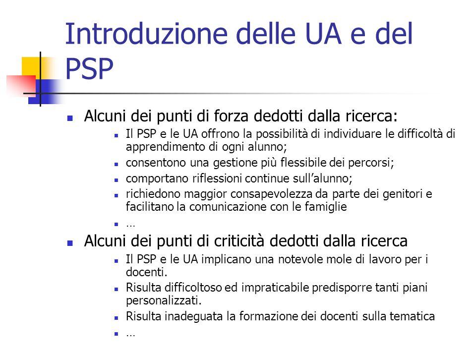Introduzione delle UA e del PSP Alcuni dei punti di forza dedotti dalla ricerca: Il PSP e le UA offrono la possibilità di individuare le difficoltà di