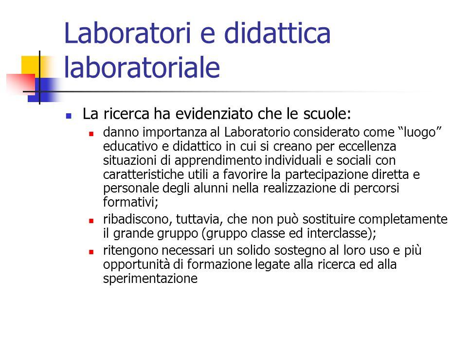 """Laboratori e didattica laboratoriale La ricerca ha evidenziato che le scuole: danno importanza al Laboratorio considerato come """"luogo"""" educativo e did"""