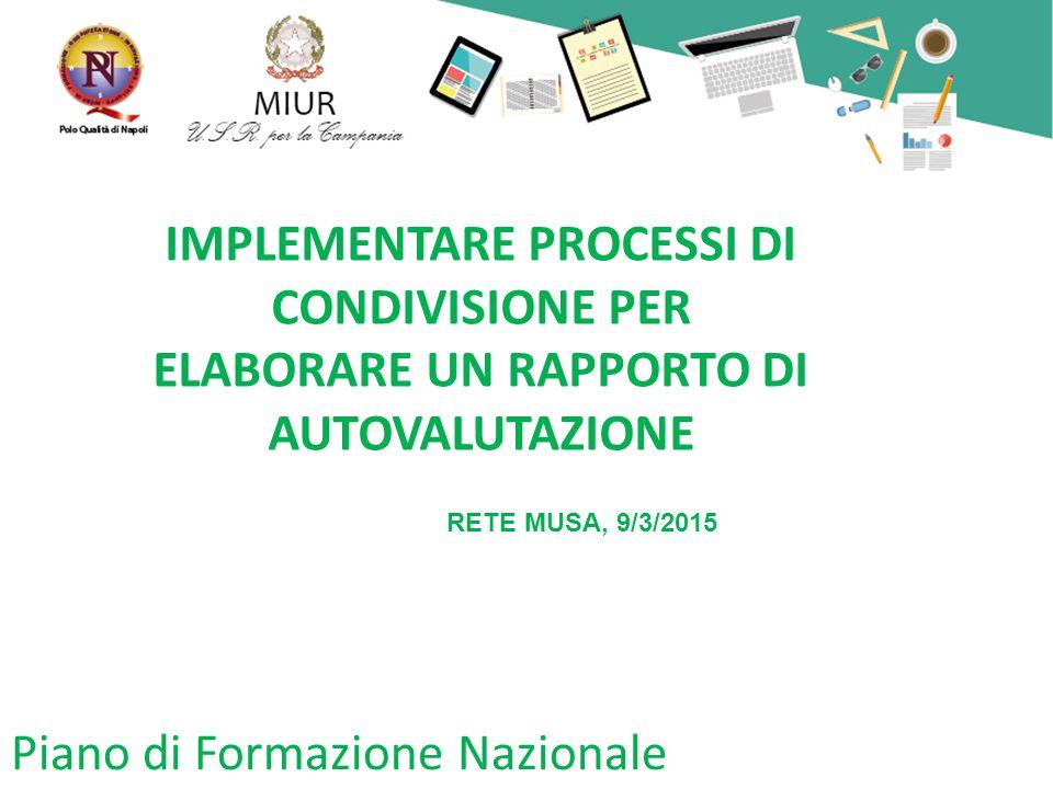 Piano di Formazione Nazionale IMPLEMENTARE PROCESSI DI CONDIVISIONE PER ELABORARE UN RAPPORTO DI AUTOVALUTAZIONE RETE MUSA, 9/3/2015