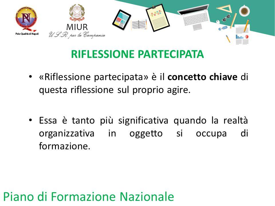 Piano di Formazione Nazionale RIFLESSIONE PARTECIPATA «Riflessione partecipata» è il concetto chiave di questa riflessione sul proprio agire.