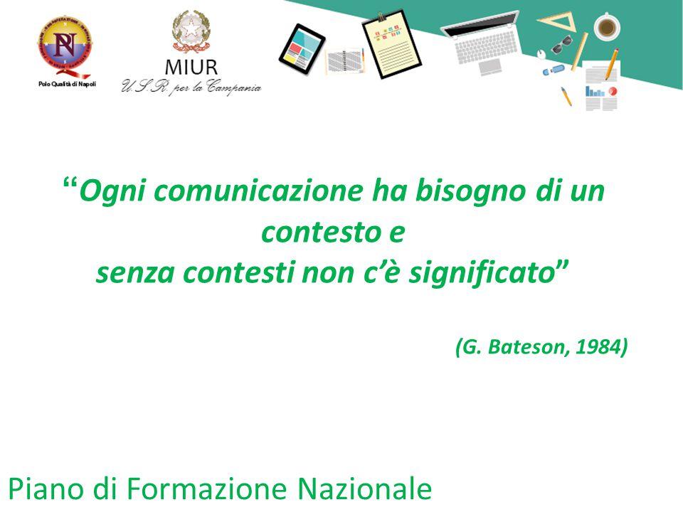Piano di Formazione Nazionale Ogni comunicazione ha bisogno di un contesto e senza contesti non c'è significato (G.