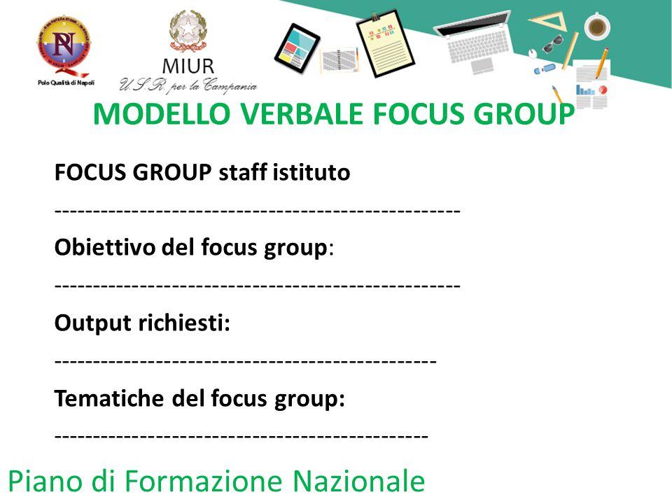 Piano di Formazione Nazionale MODELLO VERBALE FOCUS GROUP FOCUS GROUP staff istituto --------------------------------------------------- Obiettivo del focus group: --------------------------------------------------- Output richiesti: ------------------------------------------------ Tematiche del focus group: -----------------------------------------------