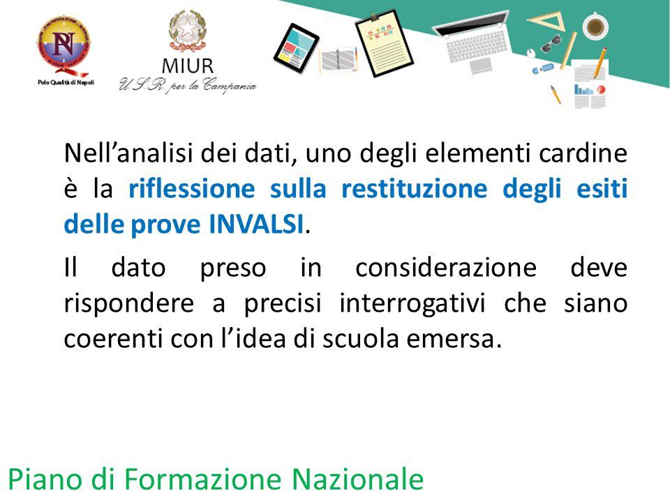 Piano di Formazione Nazionale Nell'analisi dei dati, uno degli elementi cardine è la riflessione sulla restituzione degli esiti delle prove INVALSI.