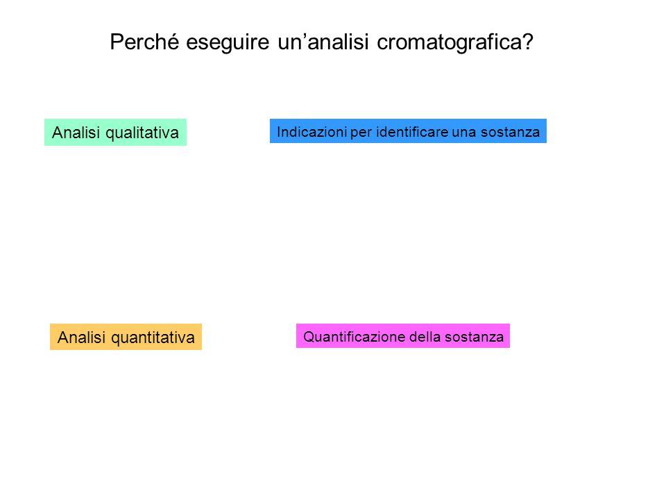 Perché eseguire un'analisi cromatografica? Analisi qualitativa Indicazioni per identificare una sostanza Analisi quantitativa Quantificazione della so