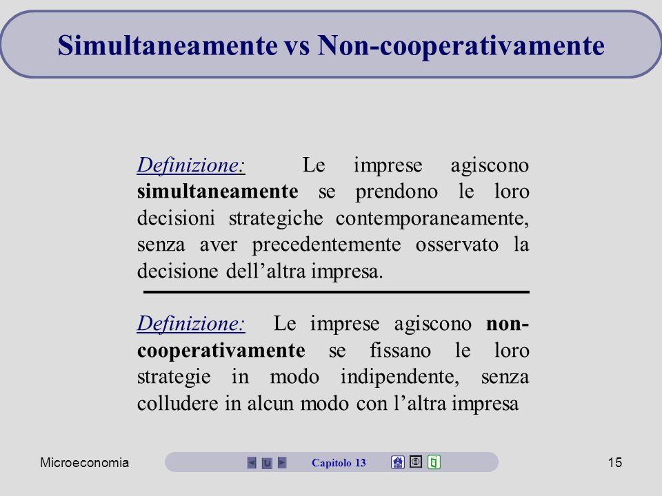 Microeconomia15 Simultaneamente vs Non-cooperativamente Definizione: Le imprese agiscono simultaneamente se prendono le loro decisioni strategiche con