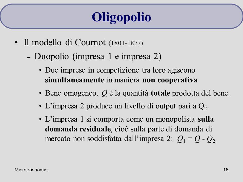 Microeconomia16 Il modello di Cournot (1801-1877) – Duopolio (impresa 1 e impresa 2) Due imprese in competizione tra loro agiscono simultaneamente in