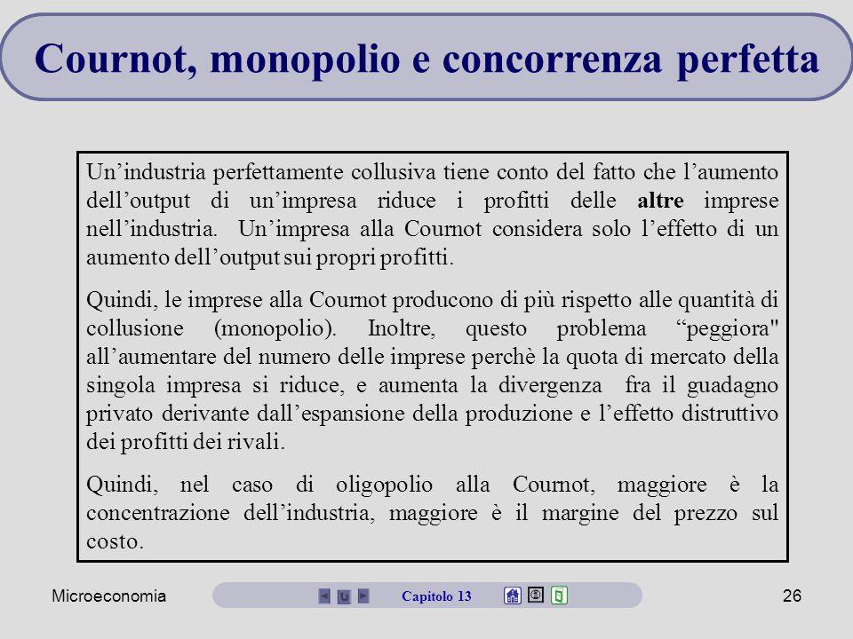 Microeconomia26 Un'industria perfettamente collusiva tiene conto del fatto che l'aumento dell'output di un'impresa riduce i profitti delle altre impre