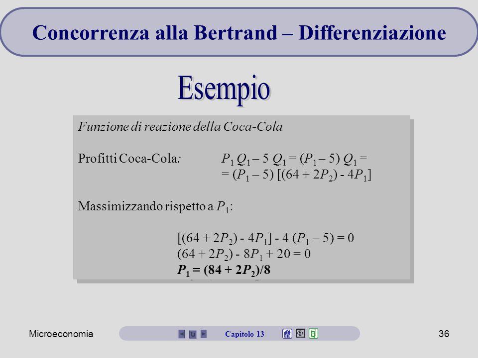 Microeconomia36 Funzione di reazione della Coca-Cola Profitti Coca-Cola: P 1 Q 1 – 5 Q 1 = (P 1 – 5) Q 1 = = (P 1 – 5) [(64 + 2P 2 ) - 4P 1 ] Massimiz