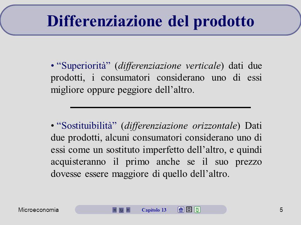 """Microeconomia5 Differenziazione del prodotto """"Superiorità"""" (differenziazione verticale) dati due prodotti, i consumatori considerano uno di essi migli"""