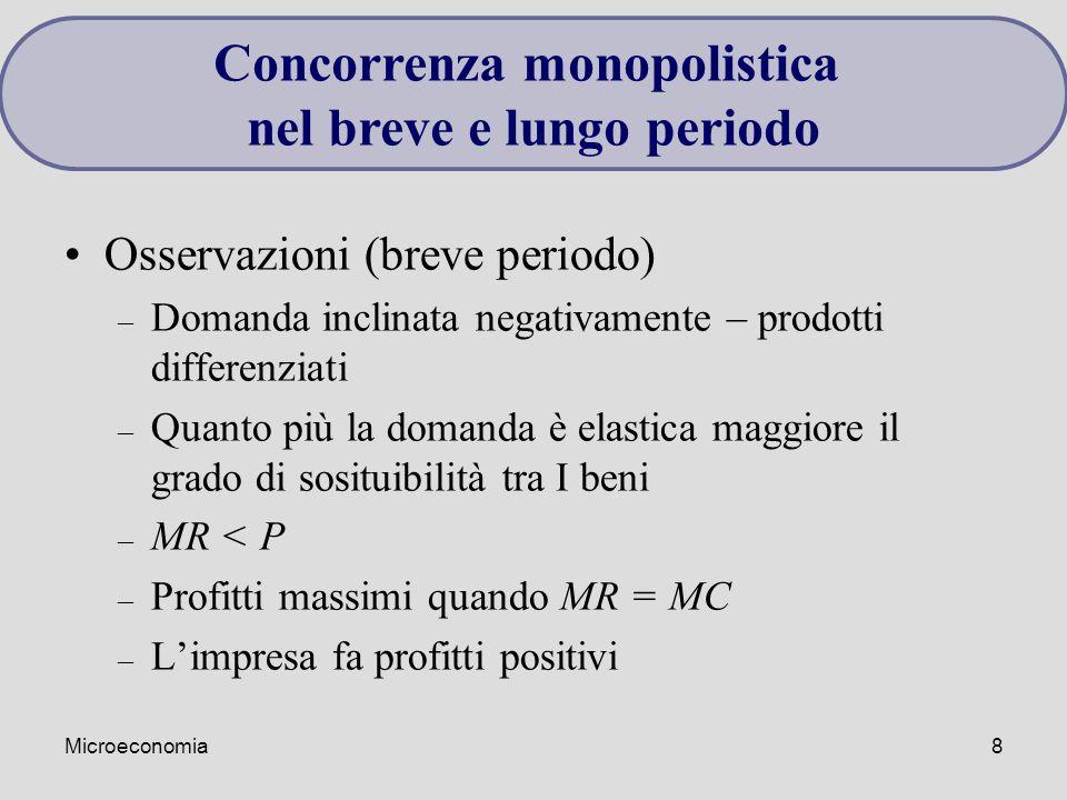 Microeconomia8 Osservazioni (breve periodo) – Domanda inclinata negativamente – prodotti differenziati – Quanto più la domanda è elastica maggiore il