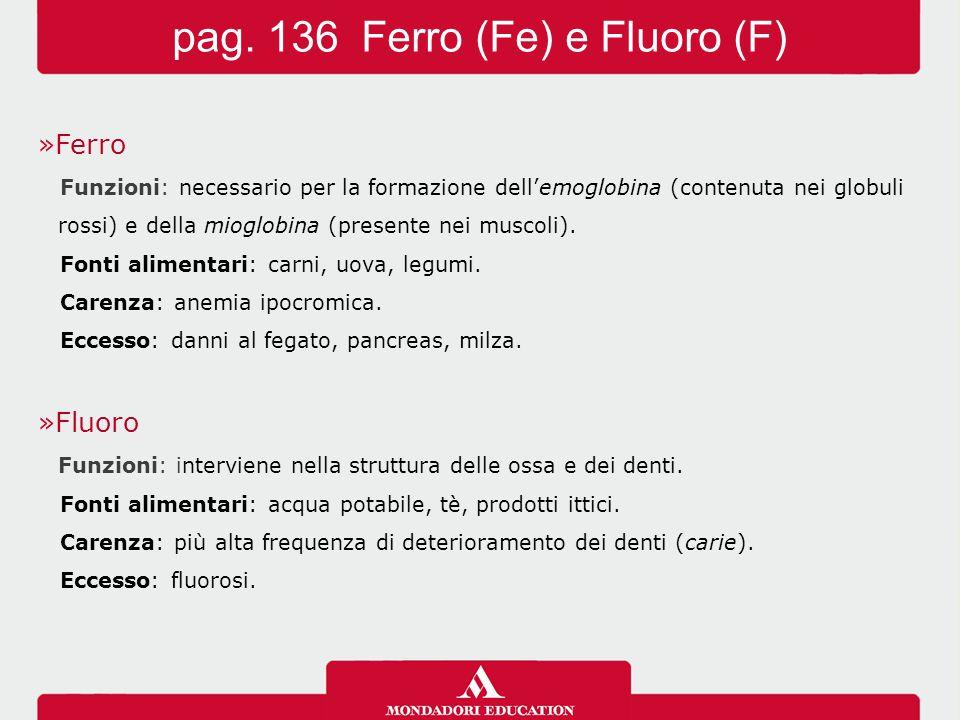 »Ferro Funzioni: necessario per la formazione dell'emoglobina (contenuta nei globuli rossi) e della mioglobina (presente nei muscoli). Fonti alimentar