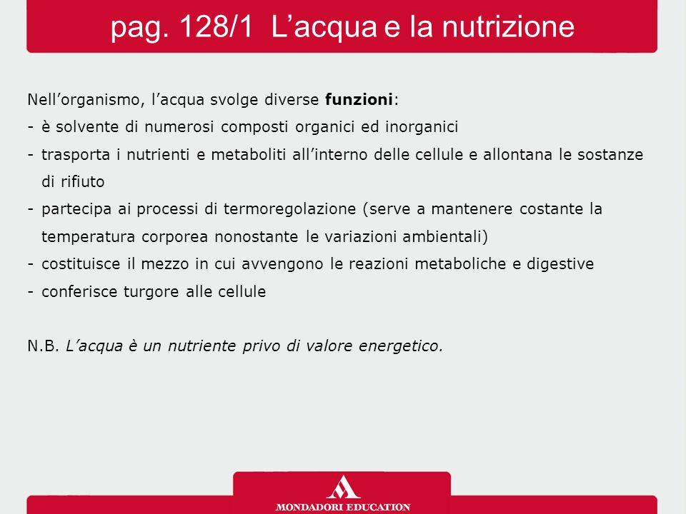 Il fabbisogno idrico varia secondo: -l'età dell'individuo -le condizioni climatiche -il tipo di alimentazione -la quantità e la qualità degli alimenti assunti -l'attività fisica svolta N.B.