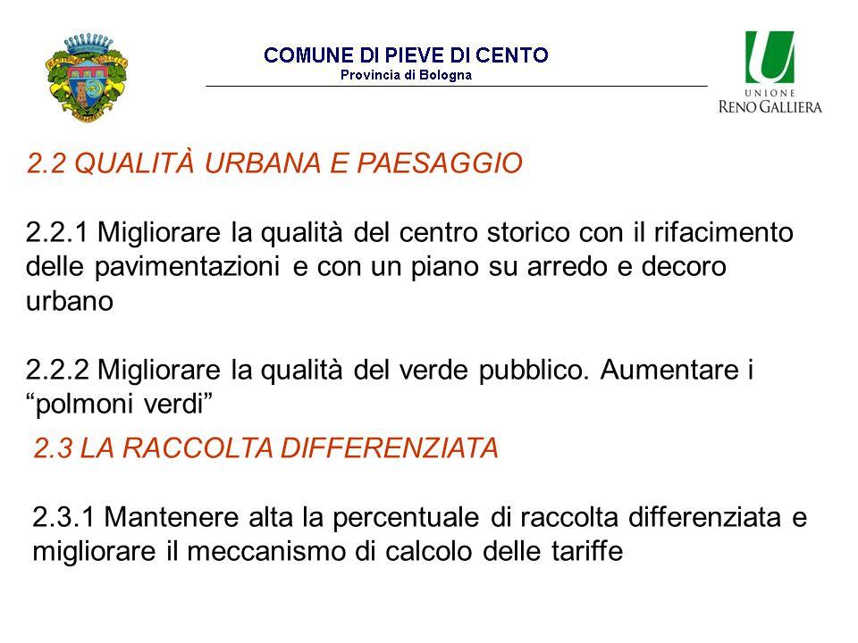 2.2 QUALITÀ URBANA E PAESAGGIO 2.2.1 Migliorare la qualità del centro storico con il rifacimento delle pavimentazioni e con un piano su arredo e decoro urbano 2.2.2 Migliorare la qualità del verde pubblico.
