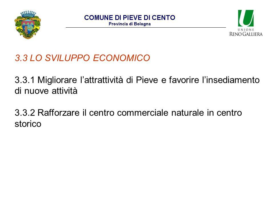 3.3 LO SVILUPPO ECONOMICO 3.3.1 Migliorare l'attrattività di Pieve e favorire l'insediamento di nuove attività 3.3.2 Rafforzare il centro commerciale naturale in centro storico